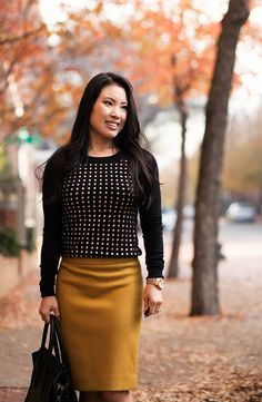cute & little blog   black gold studded sweater, j. crew mustard pencil skirt, celine mini luggage tote outfit by kileencheng, via Flickr