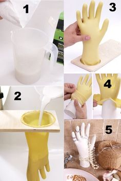 Pak een rubberen handschoen doe deze in een gat of grote fles vul deze met gips hard laten worden en handschoen kapot knippen en voilà klaar is je gipshand. Leuk voor sieraden.