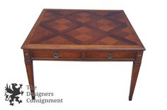 Baker Furniture Mid Centery Coffee Cocktail Game Table 1940s Distressed Mahogany | The Designers Consignment