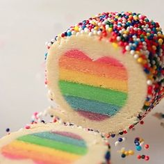 "Slice 'em up. | These Rainbow Heart Cookies Are The Sweetest Way To Say ""I Love You"""