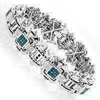 Mens 14K Gold White Blue Black Diamond Bracelet 8.89ct