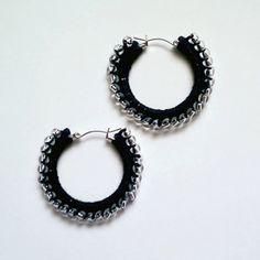 Crochet Beaded Hoop Earrings :: Free Crochet Thread Earrings Roundup on Moogly