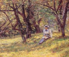 """Theodore Robinson (1852-1896) In the Orchard Oil on canvas 1895 55.9 x 47.5 cm (22.01"""" x 18.7"""")"""