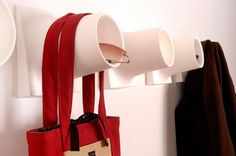 Purse hooks with PVC pipe - to avoid the ugly bend in the handles!
