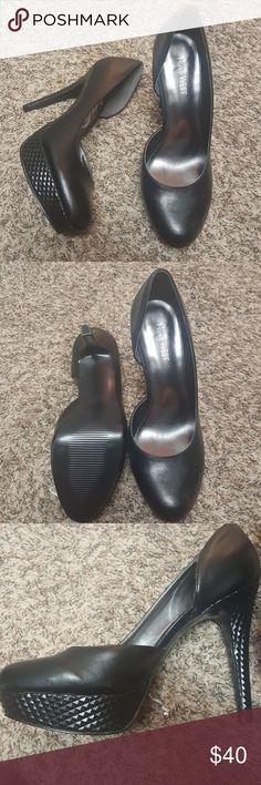 Black Nine West Pumps Edgy black pumps with unique platform and heel detail. Never worn. Nine West Shoes Heels