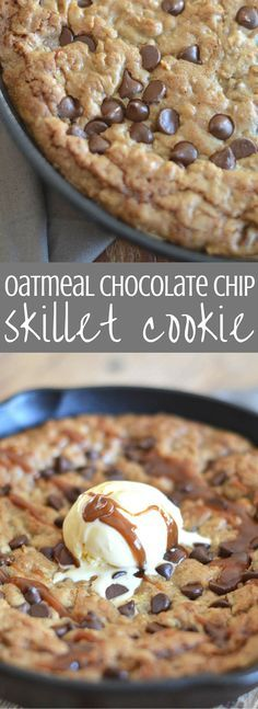 Oatmeal Chocolate Chip Skillet Cookie | Delicious indulgence! Oatmeal chocolate chip cookie dough is spread into a cast iron skillet and baked until it's melty, gooey deliciousness. We top it off with salted caramel sauce and ice cream. Everyone will love this dessert recipe! Pin for later and clickthrough for the full recipe.