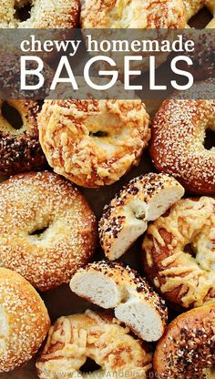 This recipe for Homemade Bagels is easy, and includes tips for making great bagels at home! Top with any seasoning and flavor you like! Homemade Bagels, Homemade Soft Pretzels, Best Bagels, Everything Bagel, Bread And Pastries, Dinner Rolls, Bread Baking, Challah, Love Food