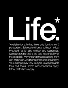 Life.* Available for a limited time only. Stretched Canvas by WORDS BRAND™ | Society6
