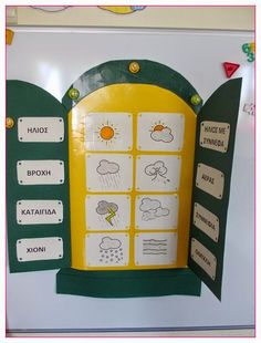 1ο Νηπιαγωγείο Ωραιοκάστρου Learning Weather, Greek Language, Kindergarten Classroom, Classroom Organization, Pre School, Calendar, Teaching, Activities, Education