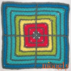 """Moogly CAL 2017 Block #4: Crossed Square by Jessie At Home 12"""" - free crochet pattern."""