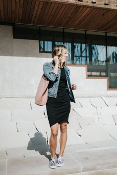 LBD: Daytime to Date Night | my kind of sweet | spring style | mom style | casual easy style | little black dress | outfit idea | womens fashion | what to wear | leith dress | madewell tote | old navy | vans | apple watch #style #fashion