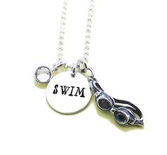 Place INITIAL in Notes to LifePopDesigns during checkout! SWIM Birthstone Charm Necklace, Swimmer Necklace, Gift for Swimmer, Hand Stamped Swim Swimmer Birthstone Charm Necklace. The 5/8 silver sterling disc is hand stamped with SWIM in a fun font. The sterling silver goggles charm and