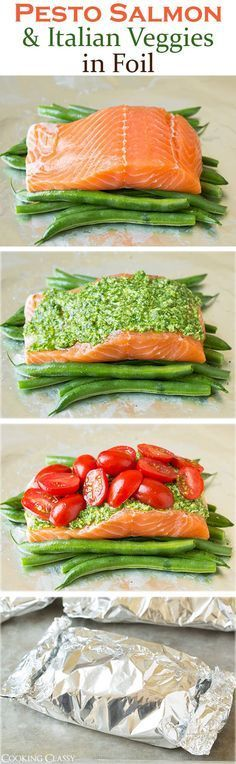 pesto salmon and italian veggies in foil - cooking classy