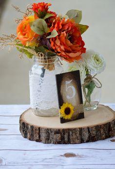 sunflower table numbers, sunflower wedding, rustic fall wedding, country farm wedding, garden reception table decor, buralp decor by RedHeartCreations on Etsy https://www.etsy.com/listing/229277103/sunflower-table-numbers-sunflower