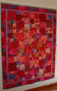 """My """" Roses are red. """" was started back in sept 2009 in a workshop with the two brilliant designers Kaffe and Brandon. Learning a lot, inc. Batik Quilts, Scrappy Quilts, Easy Quilts, Quilting Projects, Quilting Designs, Colorful Quilts, Square Quilt, Quilt Making, Quilt Blocks"""