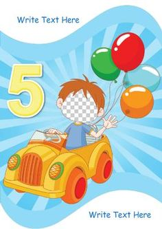 Happy 5th Birthday on Craftsuprint designed by Marie Wolman - This is a fun card for any boy of 5 featuring a boy riding his car and decorated with a colourful background.With this card you can add a photo as the face of the driver and add your own text. - Now available for download!
