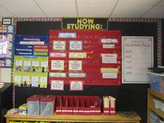 """NOW STUDYING"" wall: Hollywood themed bulletin board used to post objectives, vocabulary words, etc."