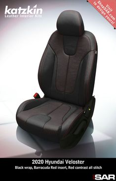 - This is a 2020 Hyundai Veloster seat with Black wrap, Barracuda Red insert, Red contrast all stitch. Leather Kits, Custom Leather, Real Leather, Automotive Upholstery, Car Upholstery, Camo Gear, Leather Seat Covers, Hyundai Veloster, Popular Colors