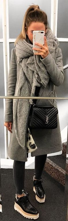 #winter #outfits grey overcoat with pants and shoes outfit