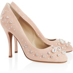 Moschino Cheap and Chic Crystal-embellished suede pumps ($230) ❤ liked on Polyvore featuring shoes, pumps, heels, sapatos, moschino, blush, slip on heels shoes, slip on shoes, high heel pumps und almond toe shoes