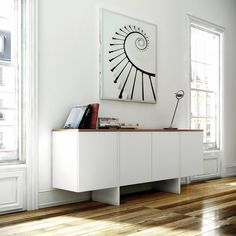 The Edge sideboard has a white body with the option of either a walnut or oak finishes for the top,. in this sideboard functionality and design come together as one in a piece with plenty of storage inside, and great lines on the outside. White Sideboard, Modern Sideboard, Sideboard Cabinet, Side Board, Luxury Interior Design, Interior Design Inspiration, Beauty Room Salon, Buffet Design, Ikea