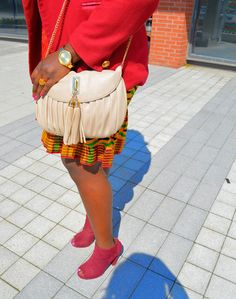 The AfroFusion Spot, afwt, color, colourful, kente, blazer, rouge, burgandy, long hair, fashion show, designer, heels, dress, africa, african, bag, watch, accessories