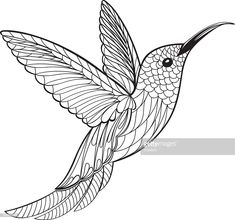 Vector Art : Coloring Page Hummingbird - Malen Coloring Book Pages, Printable Coloring Pages, Paper Bead Jewelry, Jewelry Art, Beautiful Fantasy Art, Henna Tattoo Designs, Stencil Art, Button Art, Hand Embroidery Designs