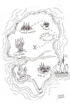 How to draw a treasure map, learn to sketch one and then ink it, so that the design elements look nice and clear.