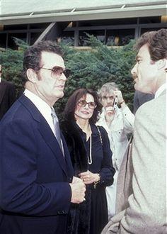February 17, 1982 Actor James Garner, wife Loise Clarke and Tom Selleck attend the funeral service for David Janssen at Hillside Memorial Park in Hillside, California.