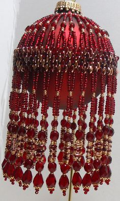 Pattern for Beaded Christmas Ornament Ruby Gold by CrystalGaye
