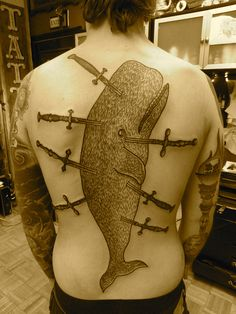 ok let's have a tattoo of a huge whale stabbed with swords on my back 0_o. whale by lyam, via Flickr
