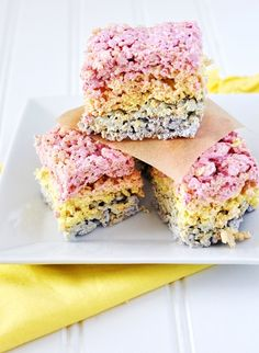 Natural Food Coloring Rainbow Marshmallow Brown Rice Crispy Treats from @Jennifer Leal @savorthethyme