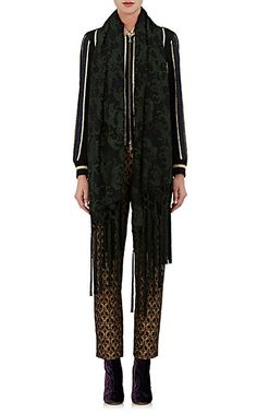 Dries Van Noten Fei Fei Tiger-Embroidered Silk-Blend Voile Scarf - Scarves - 504746777