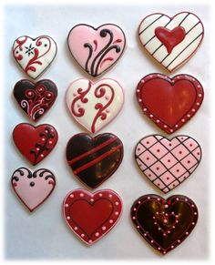 Duane Park Patisserie - Decorated Heart Cookies - New York, NY, United States Fancy Cookies, Heart Cookies, Iced Cookies, Cute Cookies, Cupcake Cookies, Sugar Cookies, Cupcakes, Cookie Favors, Flower Cookies
