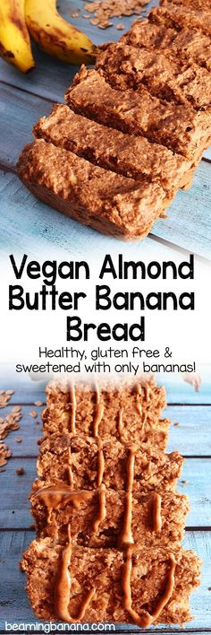 Gooey, rich vegan almond butter banana bread! This recipe is healthy, naturally sweetened and gluten free.