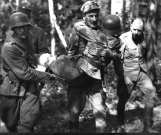 Wounded Finnish soldier is taken to aid station during the Continuation War.