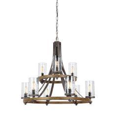 Industrial Farmhouse Wavy Glass Chandelier - 9 Light slate_gray_metal