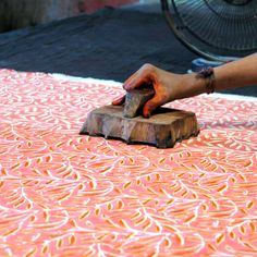 block printing hand, jaipur.  I have a wooden block from Jaipur too, maybe I should also get creative.