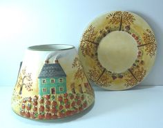 Yankee Candle Jar Candle Shade And Plate Fall Autumn Decor 2 Piece #YankeeCandle #CountryFarmhouseHolidayAmericana