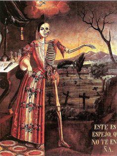 El espejo de la vida o vanitas es un ejemplo de pintura llena de simbolismo,  en la que la mano de Dios corta el hilo de la vida. Tomás Mondragón, Alegoría  de la Muerte, 1856. Pinacoteca de La Profesa, ciudad de México.