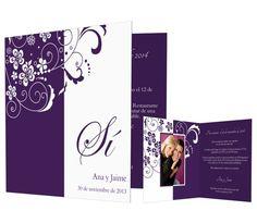 Flores - #invitación de #boda con flores en tonos morado.