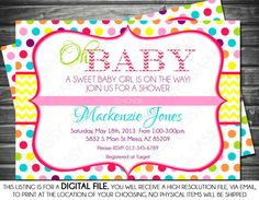 Girls Baby Shower Invitation - Polka Dots, Chevron, Yellow, Pink, Green, Turquoise, Printable, Digital on Etsy, $13.00