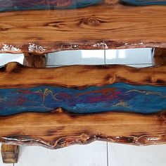 Pretty awesome looking headboard for king size bed. Carved raw | Etsy Solid Wood Bed Frame, Wood Resin Table, Twin Headboard, Epoxy Resin Art, Rustic Chair, Glass Center, Live Edge Wood, Wood Slab, Dining Table In Kitchen