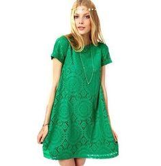 Vestido Soltinho De Renda Forrado +brinde - R$ 128,00