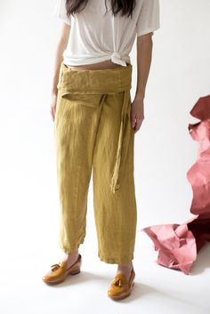 Black Crane Wrap Pants in Mustard | Oroboro Store