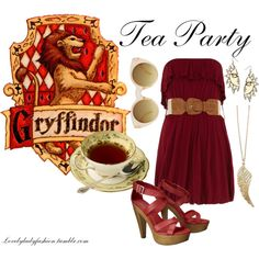 Gryffindor - Tea Party by sad-samantha on Polyvore featuring Dorothy Perkins, Mossimo Supply Co., Topshop, River Island and ASOS