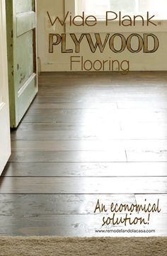 Wide Plank Plywood Flooring - An Economical Solution Hard to beat the look of plywood floors on a budget. Get the right grade and they finish up beautifully.<br> How to turn Pine sheets of plywood into a flooring solution. Cheap Plywood, Plywood Plank Flooring, Cheap Wood Flooring, Diy Wood Floors, Diy Flooring, Wood Planks, Cheap Flooring Ideas Diy, Laminate Flooring, Stained Plywood Floors