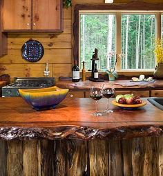 Raw edge wood counter tops. My husband has a saw mill and these will look awesome in our cabin