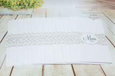 INVITATII HANDMADE by Mariana Gal: Meniuri nunta alb/argintiu