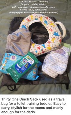 Potty training and traveling or camping--use a Cinch Sac from Thirty-One to carry all the essentials www.mythirtyone.com/StephM #camping #pottytraining #thirtyone